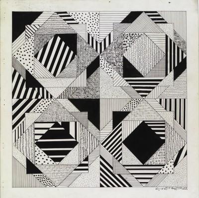 Dibujo lineal ejemplo de volumetría espacial creativa