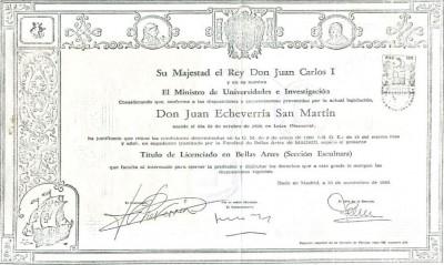 Título de Licenciado en Bellas Artes